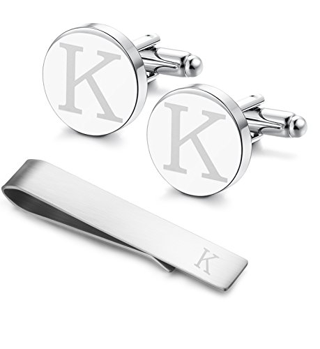 LOYALLOOK Classic Engraved Initial Cufflinks and Tie Clip Bar Set Alphabet Letter Formal Business Wedding Shirts K