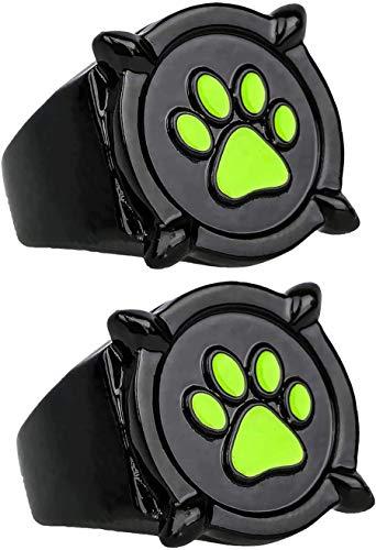 2 Piezas de Anillo Milagroso de Gato Negro para Niños y Adultos, Cosplay, Anillo de Mariquita, Anillo de Dedo para Cosplay de Anime, Anillo con Estampado de Pata Verde
