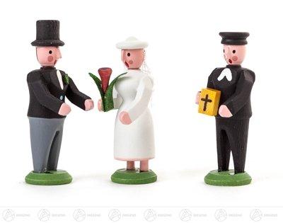 Miniatur Miniatur Brautpaar und Pfarrer Höhe ca 4 cm NEU Erzgebirge Weihnachtsfigur Holzfigur