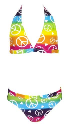 Landora farbenfroher Mädchen Neckholder Bikini - Oeko-Tex Standard 100, Bunt, 152