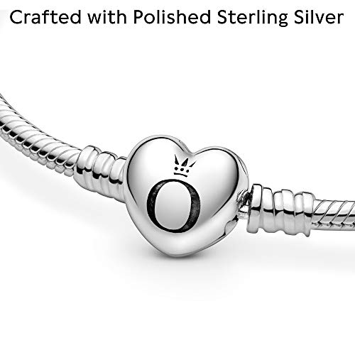 Jewelry Moments Heart Clasp Snake Chain Charm Sterling Silver Bracelet
