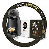 Krups KP100B Cafetera Dolce Gusto cápsulas, 15 bares presión, cafés, cappuccino, 1500 W, 0.6 litros + Nescafé DOLCE GUSTO Variety Pack, 3 Estuches Espresso Intenso Y 3 Estuches Café Con Leche