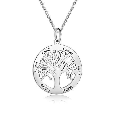 Grand Made Personalised 6 Names Silver Necklace with Tree of Life Pendant Gift Engraved for Grandma for Women for Family Women's Jewellery