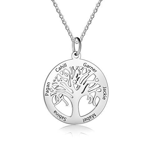Grand Made Personalizzato 6 Nomi Collana in Argento con Pendente Albero della Vita con Dono inciso per Nonna per Donna per Famiglia Donna Gioielli