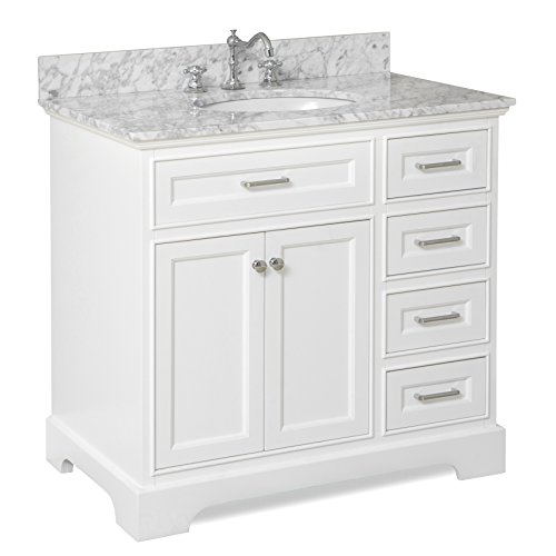 Aria 36-inch Bathroom Vanity (Carrara/White): Includes a White Cabinet with Soft...