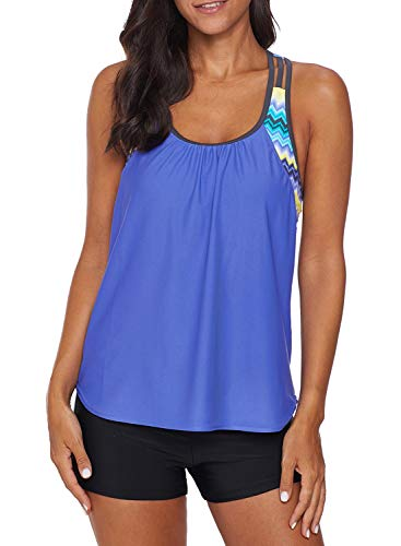 Aleumdr Women Striped Blouson Swimwear T-Back Tankini Top with Shorts Blue Large 12 14