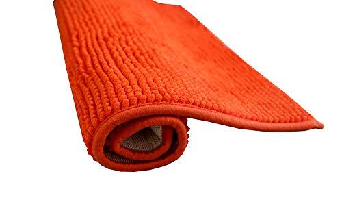 Alfombra de baño de pelos de Microfibra Super Suave Antideslizante Multifuncional Felpa Microfibra Chinille Cómoda Y Súper Absorbente Cocina Mascota (50x70cm, Naranja)