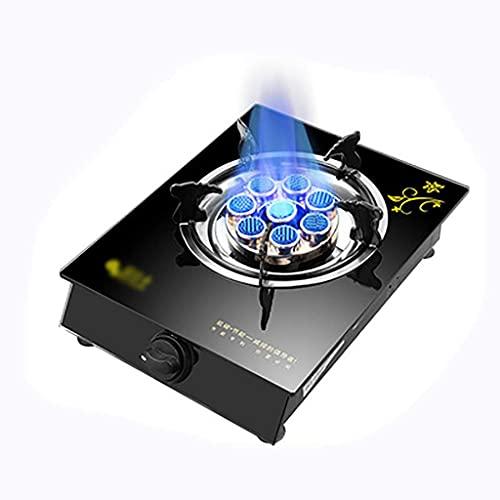 Nueva hornilla de gas Estufa de gas de escritorio de 5.3KW, quemador único para cocinar, placa de vidrio templado negro, para calentar, cocinar, hervir, freír, hervir a fuego lento [Clase energética A
