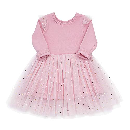 Toddler Girls Dresses Tutu Party Sequins Stars Prints Tulle Princess Style 6m to 4t (18-24m, Pink)