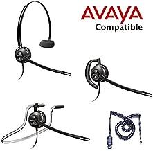 Avaya Compatible Plantronics EncorePro 540 HW540 VoIP Noise Canceling Headset Bundle Avaya 1600, 9600 IP Phones: 1608, 1616, 9601, 9608, 9610, 9611, 9611G, 9620, 9620C, 9620L, 9621, 9630, 9640, 9640G, 9641, 9650, 9650C, 9670