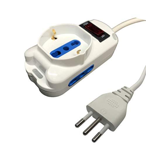 Patabit USB-Steckdosenleiste für den Schreibtisch, Überspannungsschutz, Elektroschuhe, Büroschuhe, für italienische und deutsche Schuko-Steckdose mit flachem Stecker (3 Stecker 10 A)