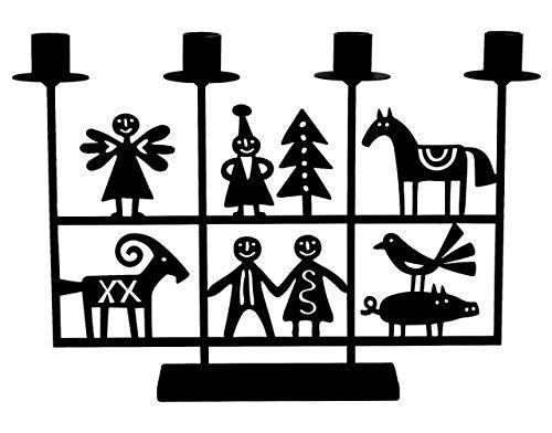 Bengt & Lotta Weihnachten Kerzenständer 4 flammig Höhe 24 cm schwarz