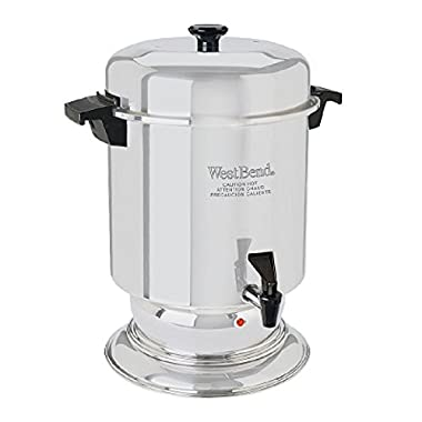 West Bend 13350 Highly Polished Stainless Steel Commercial Coffeemaker Features Automatic Temperature Control Large Capacity with Quick Brewing Smooth Prep and Easy Clean Up, 55-Cup, Silver