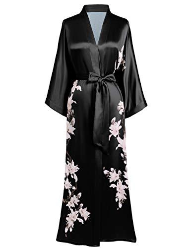 BABEYOND Kimono Robe Cover up Long Floral Satin Sleepwear...