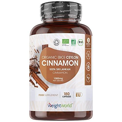 BIO Ceylon Zimt Kapseln - 1000mg reines Bio Ceylon Zimt Pulver je Tagesmenge - 180 Kapseln für 3 Monate - 100{8f8143ffaf003eaf0ff8e2120669d4f5ba7f82281d3231616cd15d5875a2b8d3} natürlicher Zimt aus Sri Lanka - Laborgeprüft, Vegan & Ohne Zusatzstoffe - Cinnamon