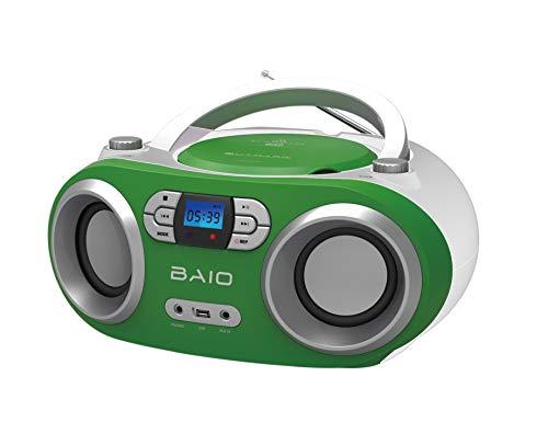OUTMARK BAIO TRAGBARER CD-Radio-Bluetooth-Player | USB | AUX-IN | MP3 | Fernbedienung | LCD-Display MIT Blauer Beleuchtung | FM-Radio | KOPFHÖRERANSCHLUSS | 2 x 1,5W RMS | Boombox | (Green)