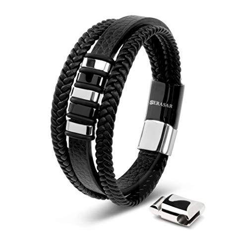 SERASAR | Pulsera de Cuero Premium para Hombre en Negro | Cerradura Magnética de Acero Inoxidable en Plata y Oro | Joyero Exclusivo | Gran Idea de Regalo