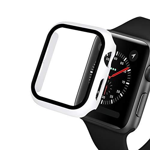 Protector de pantalla compatible con Apple Watch Series 3/2/1 44 mm 40 mm con, KJDS IWatch Series 6/5/4 42 mm 38 mm Protector de pantalla de vidrio templado integrado (blanco, serie 4 5 6 44 mm)