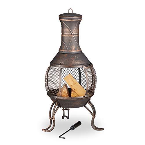 Relaxdays Aztekenofen, Schürhaken, Holzrost, Funkenschutzgitter, Garten, Terrasse, antiker Feuerofen, Höhe 89 cm, Bronze