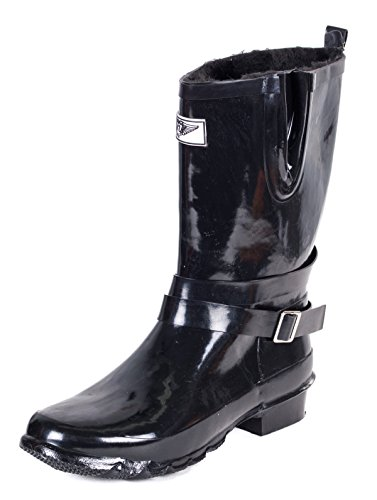 Forever Young Women Faux Fur Lined Rain Boots, Black Wrapped Straps, 6