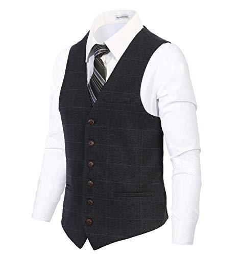 Gioberti - Chaleco de tweed de espiga con 6 botones para hombre, 58 - Graph Navy, X-Large