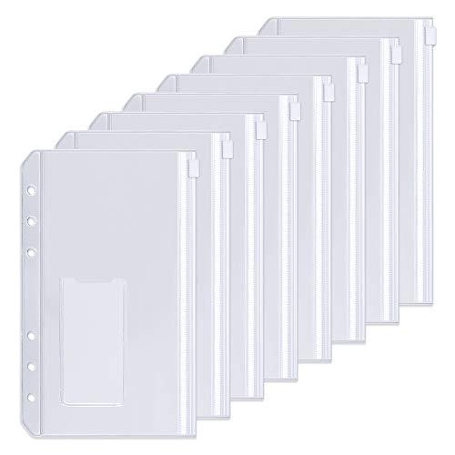 Sooez 12pcs Binder Pockets A6 Binder Zipper Folders, 6 Holes Zipper Binder Pocket with Label Pocket for 6-Ring Notebook Binder, Plastic Clear Zipper Binder Pouch Organizer for Cash, Cards