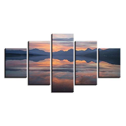 XXSCZ 5 Canvas Schilderijen Muur Kunst Canvas Print Poster Home Decor 5 Stuks Zonsopgang IJsland Rivier Reflectie Schilderij Modulaire Natuurlijke Landschap Fotolijst 20x35 20x45 20x55cm Met Frame