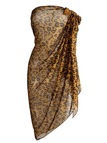 CHIC DIARY Écharpe de plage en mousseline de soie - Pour l'été - Pour femme - Bikini sexy - Paréo de plage - Motif léopard - - Taille unique