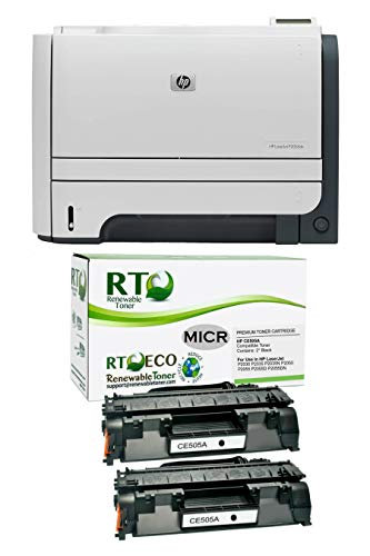 Renewable Toner Renewed P2055dn MICR Printer Bundle with Two HP CE505A Cartridges Remanufactured in USA to Print Your Own Checks (3-Items)