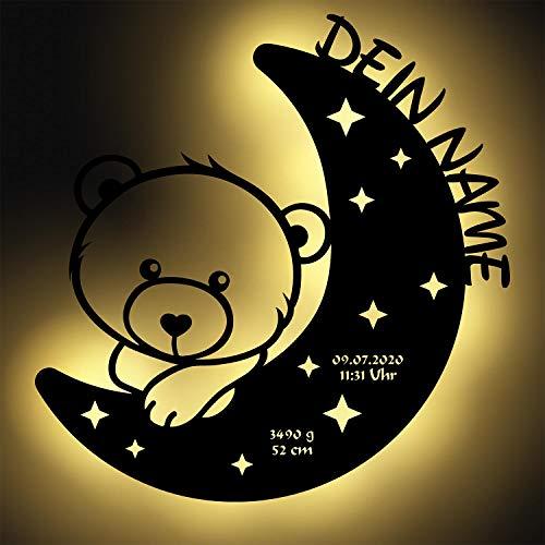 Luce notturna LED con orsetto sulla luna, regalo unico...