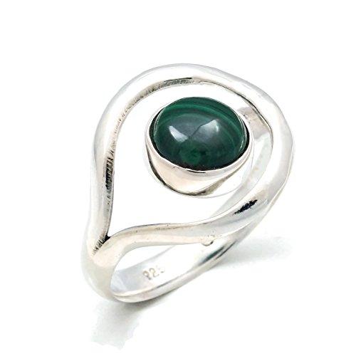 Malachit Ring 925 Silber Sterlingsilber Damenring grün (MRI 137-10), Ringgröße:54