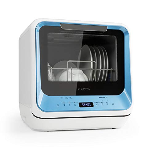 Klarstein Amazonia Mini - Lavavajillas, Máquina lavaplatos, 6 programas: eco, una hora, rápido, fruta, desinfección por calor, vidrio, Necesita 5 litros de agua, Pantalla LED, Táctil, Azul