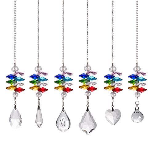 Crystal Suncatchers Chakra Crystal Prisms Ball Hanging Glass Pendant Ornament Fengshui Garden Decor Light Catchers Christmas Tree Hanging Decor Pack of 6