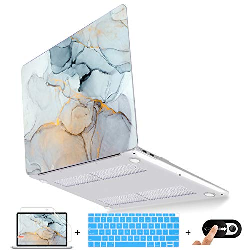 Mektron MacBook Air 13 inch Case 2020 2019 2018 Release A2179 A1932, Plastic Hard Shell Case with Keyboard Cover, Screen Protector & Webcam Cover for Apple Mac Air 13 Touch ID, Fluid Marble