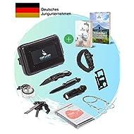 Cliff&Cliff Survival Kit mit EBooks - Outdoor, Camping und Wandern - Notfall Set mit Klappmesser, Paracord Armband, Taschenlampe, Tactical Pen und weiterem Zubehör