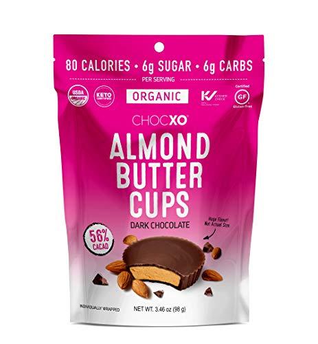 ChocXO Dark Chocolate Almond Butter Cups | Keto Certified, USDA Organic, Low Sugar, Certified Gluten Free and Kosher, 98 g (1 Bag)