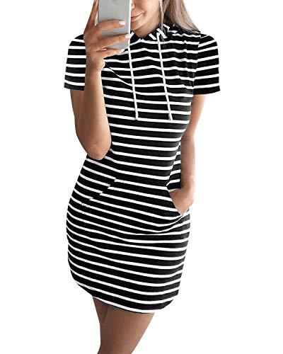 Auxo Mujer Vestido Sudadera Manga Corta Sudadera con Capucha Larga Verano Deportivo Rayas Talla Grande Túnica Camisa Larga Moda X-Negro L