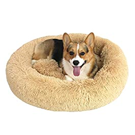 Calming Dog Bed Cat Bed Donut, Faux Fur Pet Bed Self-Warming Donut Cuddler, Comfortable Round Plush Dog Beds for Large Medium Dogs and Cats