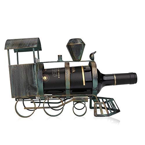Soporte para botellas de vino de tren con diseño de hierro para decoración del hogar, manualidades, decoración práctica