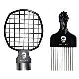 Magic Afro Hair Twist Comb & Hair Pick Comb Set for Men & Women, Twist Hair Up for Afros Curly Dreads, Curl Better Than Coil Sponge Brush (Black)