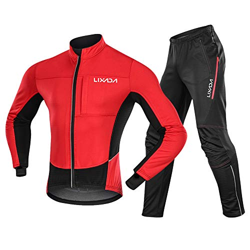 Lixada Chaqueta de Ciclismo Hombre Invierno y Pantalones Ajustados Forro Térmico Cómodo de Lana Cortaviento para Invierno Otoño