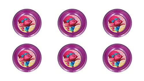 ALMACENESADAN Trolls, 0301, Pack de 6 Cuencos de plástico Reutilizables para Fiestas y cumpleaños (Trolls Platos)