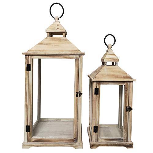 Rebecca Mobili 2 Pz Lanterne Porta Candela Decorative Vetro Metallo Legno Chiaro Stile Shabby Arredo Casa Giardino - 72 X 32 X 27 Cm (H X L X P) - Art. RE6235