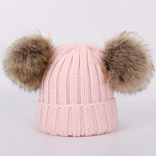 Lasisz Leuke kinderen pompon gebreide muts muts sjaal winter jongen meisjes mode zachte muts sjaals baby halsdoek kinderen wraps, roze