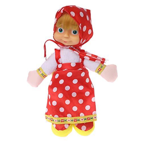 LANDUM Masha y Oso Ruso Peluche Mascota Caliente Lindo Hablar Hablar Sonido Registro Hamster Juguete Educativo para Niños Regalo Rojo (Falda de Lunares) 22 cm