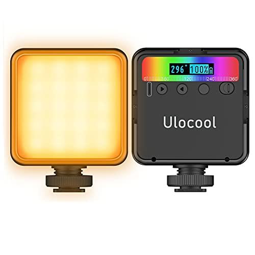 Ulocool Led Videoleuchte, VL49 RGB Videolicht mit Eingebaute Akku, Mini Dimmbare Kamera Licht 2500K-9000K LCD Display, Tragbare Video Licht, Fotolampe für DSLR, Camcorder, Smartphone