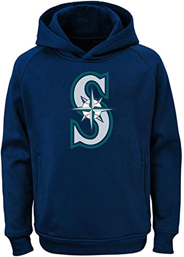Outerstuff MLB Youth 8-20 Team Color Polyester Performance Primary Logo Pullover Sweatshirt Hoodie (Large 14/16, Seattle Mariners Navy)