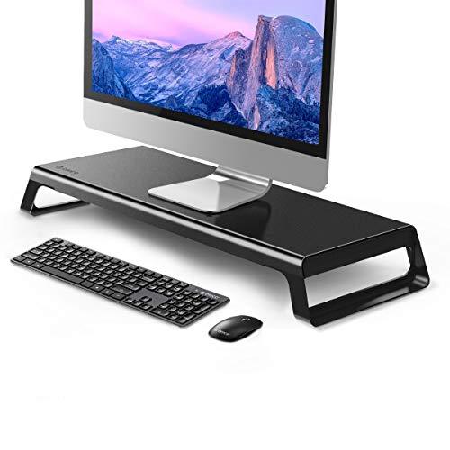 ORICO Soporte de monitor de aluminio, antideslizante, para PC, TV/iMac/portátil/ordenador portátil (carga máxima de 15 kg: 21,5 x 5,65 x 7,5), color negro