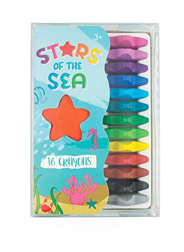 Ooly Stars of the Sea Crayon - Starfish-Shaped Wax Crayons - Set of 16 - Ages 3+