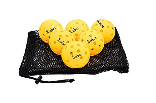 ZCEBRA - Pickleball Bolas 40 Agujeros Pack de 6 Bolas Amarillas USAPA Interior y Exterior Suaves Resistentes Alto Rebote para Competición al Aire Libre Bolsa Transporte(6)